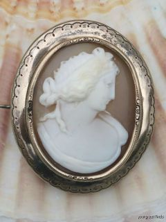Antique 19th C Sterling Silver Hand Carved Shell Cameo Pin Brooch w