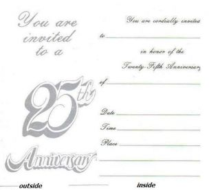 of 10 Silver Wedding Anniversary Party Invitations 5x3 5 c w Envelopes