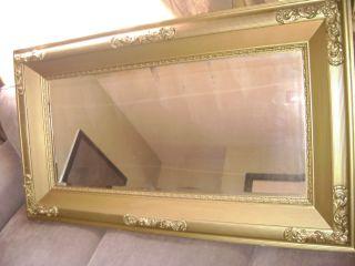 LG Antique Victorian Gold Gilt Beveled Glass Mirror