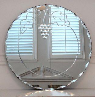 Anique Ar Deco Eched Round Scallop Beveled Mirror