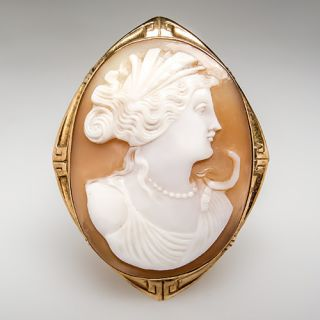 Antique Shell Cameo Brooch Pin Pendant Goddess Profile Solid 10K Gold