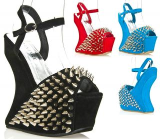 Womens Shoes Studded Spike High Heels Less Curved Wedge Sandals Black