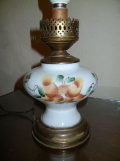 ANTIQUE ROSES MILK GLASS HURRICANE LAMP BASE ELECTRIC WORKS SHABBY