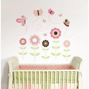 Butterfly Garden 175 Big Wall Mural Decals Pink Flowers Room Decor 3D