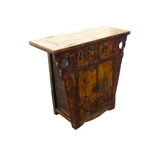 Chinese Antique Lacquer Side Table Bathroom Vanity Cabinet WK2237