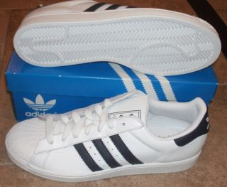 NEW ADIDAS SUPERSTAR II Originals MENS White Navy Blue LEATHER Vintage