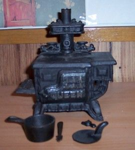 Cast Iron and Metal Reproduction of Vintage Wood Cook Stove Great for
