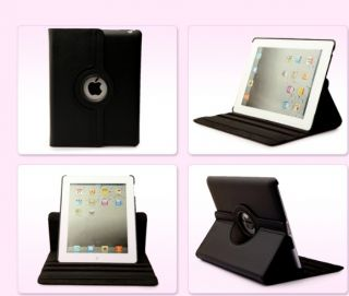 For New IPAD4 2 3 360° Rotating Leather Case Smart Cover Swivel Stand