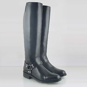 CP Harnes Men Motorcycle Police patrol Leather Fashion Tall Boots