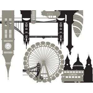 London Bridge Big Wall Mural Decals City Skyline Stickers Vinyl Room