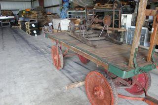 Antique Train Railroad Baggage Car Wood Wheels Railway Express Agency