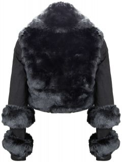 Hunt No More Lifting Me Black Faux Fur Bolero Jacket