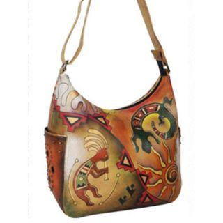 Anuschka Handpainted Leather Hobo Handbag Adjustable Strap Spiral