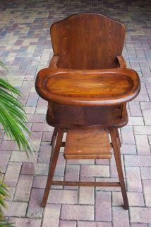 Vintage Antique Baby High Chair Wood Wooden