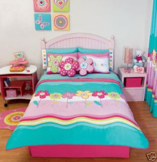 Teens Girls Aqua Flowers Comforter Bedding Set Full 10P