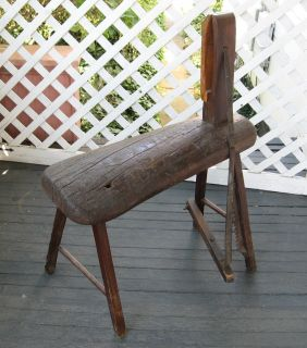 ANTIQUE PRIMITIVE FARM TOOL wood bench STITCHING HORSE Leather harness