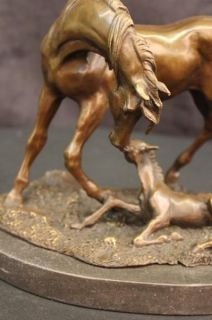 Large Arabian Horse Bronze Sculpture Statue by P J Mene on Marble Base