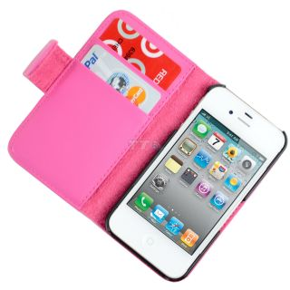 Pink Leather Wallet Folding Credit Card Case For Apple iPhone 4 4G 4S