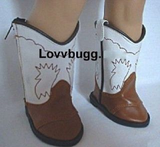 Brown & White Cowboy Boots fits American Girl Doll AMAZING SELECTION