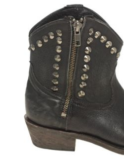 Ash Black Leather Crosby Studded Ankle Western Cowboy Boots 6 39 £225