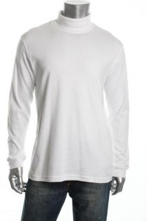 John Ashford New White Cotton Interlock Long Sleeve Turtleneck Shirt M