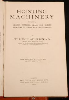 1940 Engineering Hoisting Machinery Atherton Illus 1st