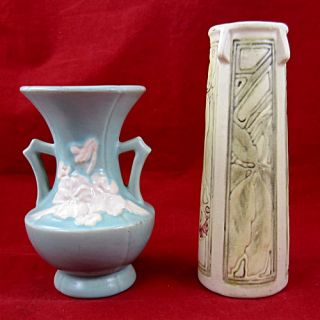 vintage weller art pottery 2 piece vase lot mixed patterns two piece