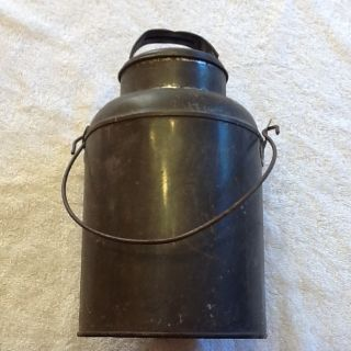 Antique Cream Milk Can Container with Handle Lid 4