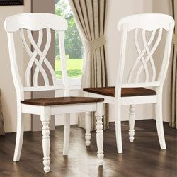 Country Style Wood Distressed Antique Cream Color Dining Chair Set 2