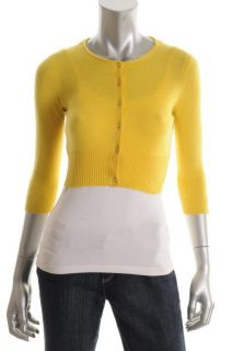 Autumn Cashmere New Yellow Cashmere Cropped Button Front Cardigan