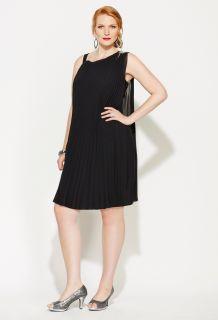 Avenue Plus Size Pleated Faux One Shoulder Dress