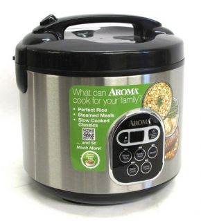 Aroma ARC 150SB 20 Cup Cooked Digital Rice Cooker Food Steamer Black