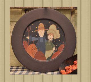 Primitive Folk Art Harvest Fall Plate Harvest Couple Plate