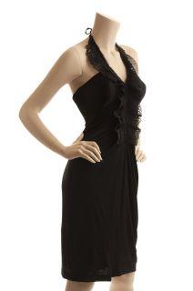 BCBG Max Azria Little Black Lace Halter Dress New Size L