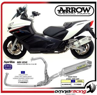 Arrow Catalyzed Full Exhaust System Aluminium Muffler Aprilia SRV 850