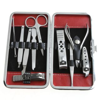 Stainless Steel Manicure Pedicure Ear Pick Nail Clippers Set 10 in 1