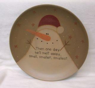 Primitive Folk Art Snowman Plate Country Christmas Plate 12