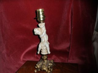 VINTAGE CERAMIC 12 TALL CHERUB ANGEL ON BRASS BASE TABLE LAMP