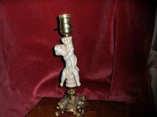 VINTAGE CERAMIC 12 TALL CHERUB ANGEL ON BRASS BASE TABLE LAMP