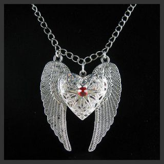 Silver Angel Wing Heart Swarovski Ruby Picture Locket Pendant Necklace