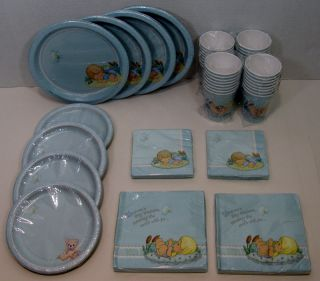 Precious Moments Boy Baby Shower 32 Dinner Dessert Plates Lunch Bev