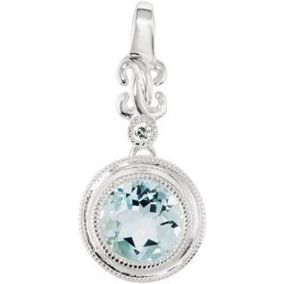 White Gold Natural Genuine Aquamarine Diamond Necklace Pendant