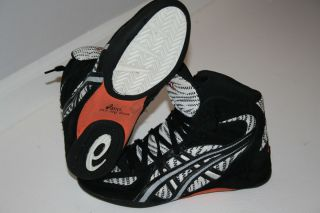 Ultra RARE Asics Zebra Medalists Wrestling Shoes Black White Orange