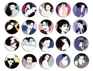 Patrick Nagel Pop Art Pin Button Badge Magnet Set 2