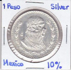 Mexico $ 1 Peso Coin Silver 10% Morelos 1964 Exc, Conditions Coin.