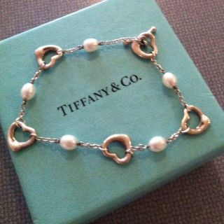 Tiffany Co Silver Peretti Open Heart Pearl Toggle Bracelet Bangle