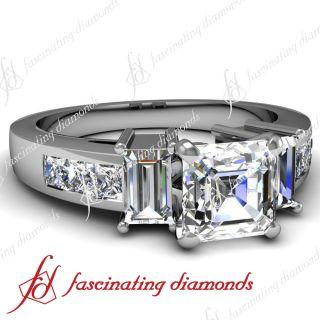 20 Ct Asscher Cut 3 Stone Diamond Engagement Ring Channel Set VS1 D