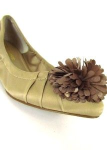Womens Brown Audrey Brooke Ballet Flats Shoes Slip Ons Flower Stretch