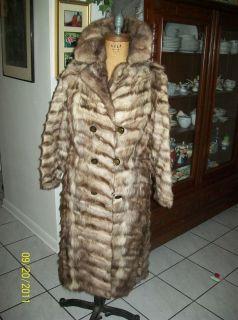 brown blue silver sheared Fox gray MINK real FUR long full length coat