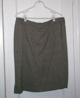 BARRIE PACE Tailleur Gold Black & White Check Wool Lined Skirt, 20